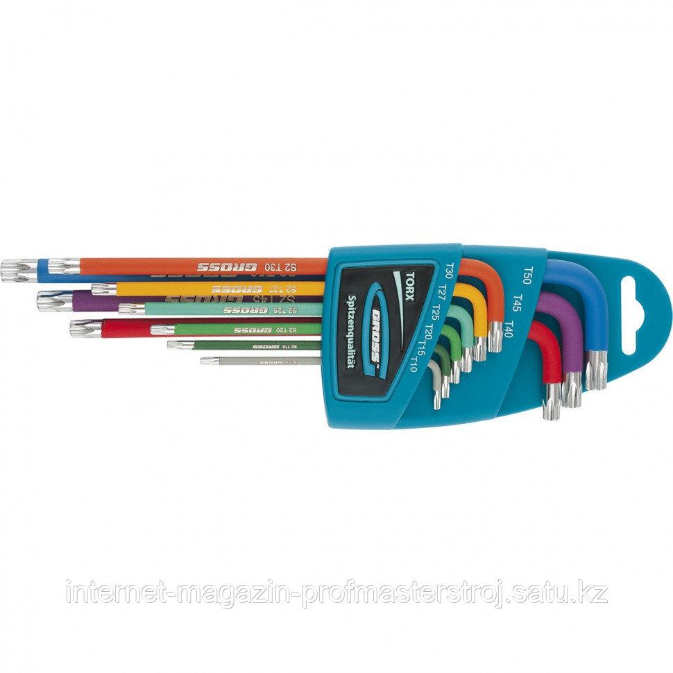 Набор ключей имбусовых TORX-TT, 9 шт: T10-T50, магнит, S2, экстра-длинные, хром/краска, GROSS