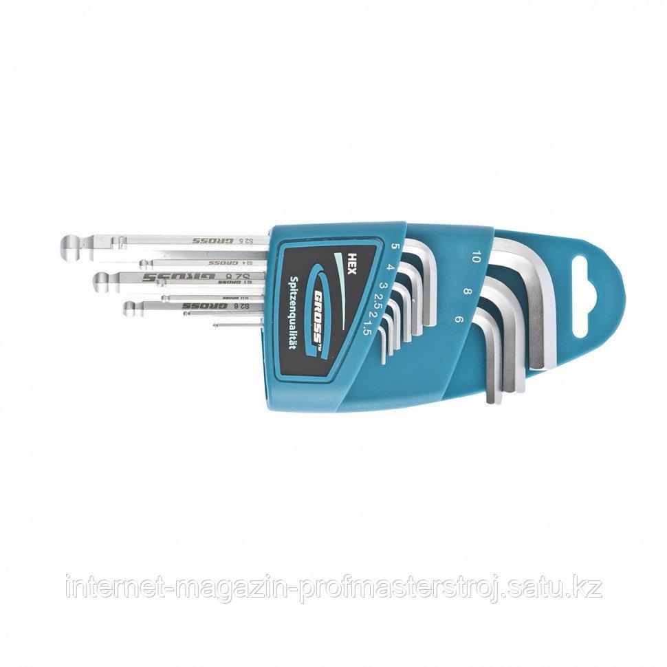 Набор ключей имбусовых HEX, 1,5–10 мм, S2, 9 шт., удлиненные с шаром, сатинированные, GROSS
