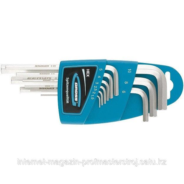 Набор ключей имбусовых HEX, 1,5–10 мм, S2, 9 шт., экстра-длинные с шаром, сатинированные, GROSS