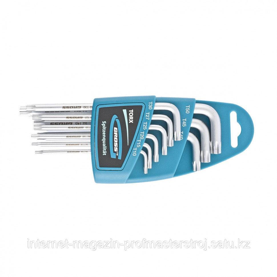 Набор ключей имбусовых TORX-TT, 9 шт: T10-T50, магнит, S2, удлиненные, сатинированные, GROSS