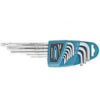 Набор ключей имбусовых TORX-TT, 9 шт: T10-T50, S2, экстра-длинные, сатинированные, GROSS