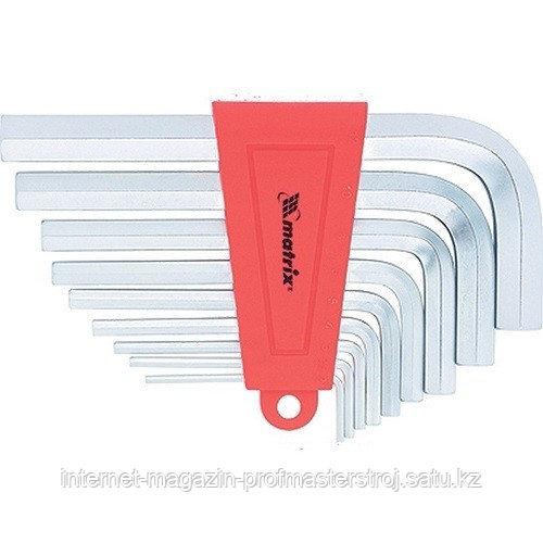 Набор ключей имбусовых HEX, 2–12 мм, CrV, 9 шт., короткие с сатинированным покрытием, MATRIX