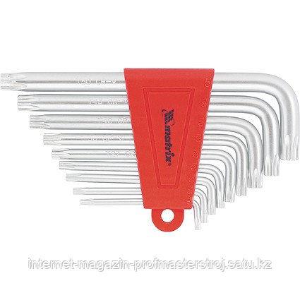 Набор ключей имбусовых TORX, 9 шт., T10-T50, CrV, коротких, с сатинированным покрытием, MATRIX