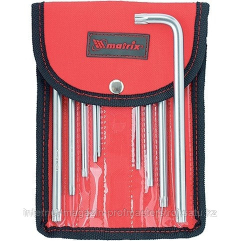 Набор ключей имбусовых TORX-TORX TAMPER, 9 шт., T10-T50, CrV, удлиненных, с сатиновым покрытием, чехол, MATRIX