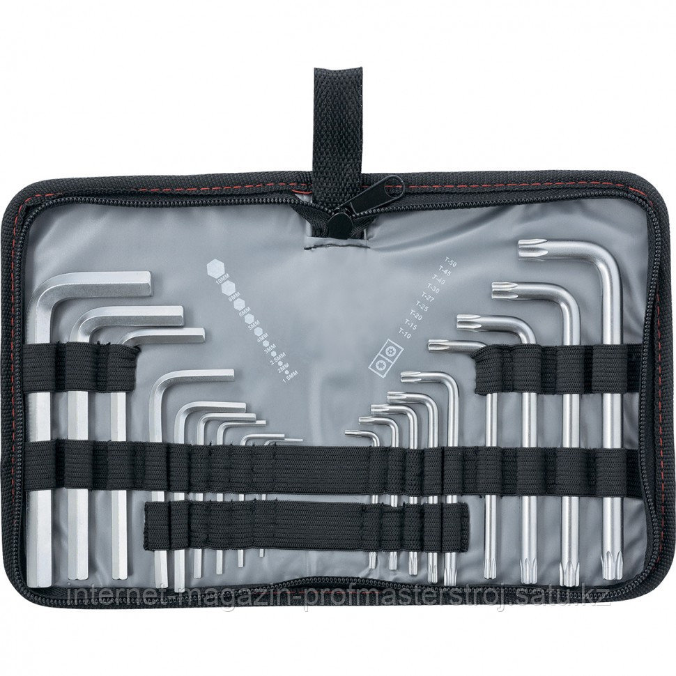 Набор ключей имбусовых HEX-TORX, 18 шт., HEX 1,5-10 мм, T10-T50, CrV, коротких, с сатиновым покрытием, MATRIX