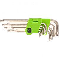 Набор ключей имбусовых TAMPER-TORX, 9 шт, T10-T50, 45X, закаленные, удлиненные, никель, СИБРТЕХ