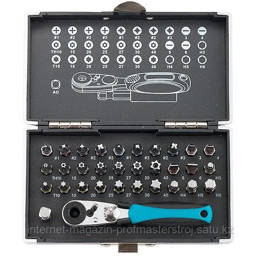 """Набор бит, 1/4"""", магнитный адаптер, сталь S2, пластиковый кейс, 33 предмета, GROSS"""