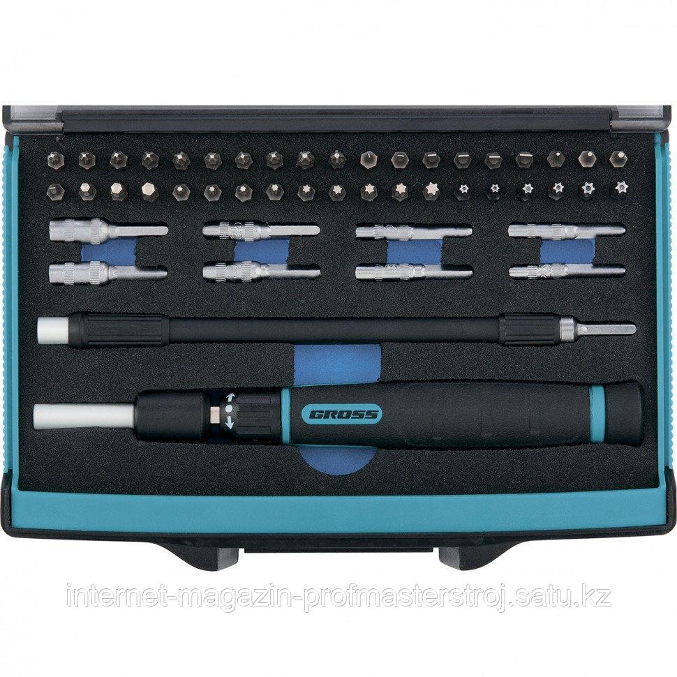 Отвертка с набором бит и торцевых головок для точных работ, гибкий привод, 48 штук, GRMO GROSS