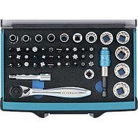 Трещотка с набором бит и торцевых головок, адаптер и удлинитель, 49 штук, S2, GROSS