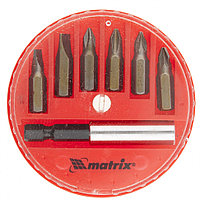 Набор бит, магнитный адаптер для бит, сталь 45X, 7 предметов, в пластиковом закрытом боксе, MATRIX, фото 1
