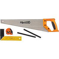 Набор столярный, 5 предметов, карандаш - 2 шт., ножовка 450 мм, рулетка, угольник строительный, SPARTA