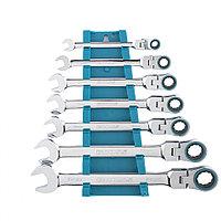 Набор ключей комбинированный с трещоткой, 8 - 19 мм, 7 шт., шарнирные, CrV, GROSS