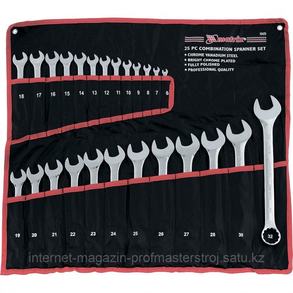 Набор ключей комбинированных, 6 - 32 мм, 25 шт., CrV, полированный хром, MATRIX
