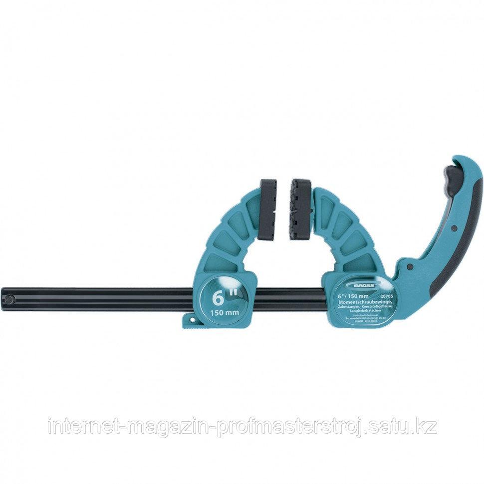 """Струбцина реечная быстрозажимная, пластиковый корпус, рычажный храповый механизм, 18""""/450 мм, GROSS"""