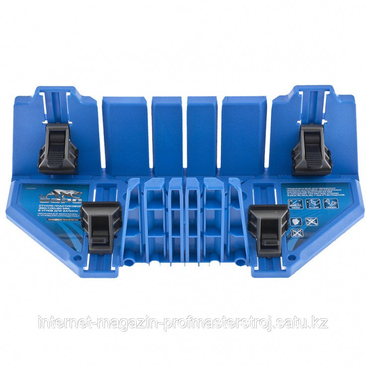Стусло пластиковое 350 x 100 x 80 мм, 5 углов для запила, прижимные фиксаторы, с угловыми наклонами, БАРС
