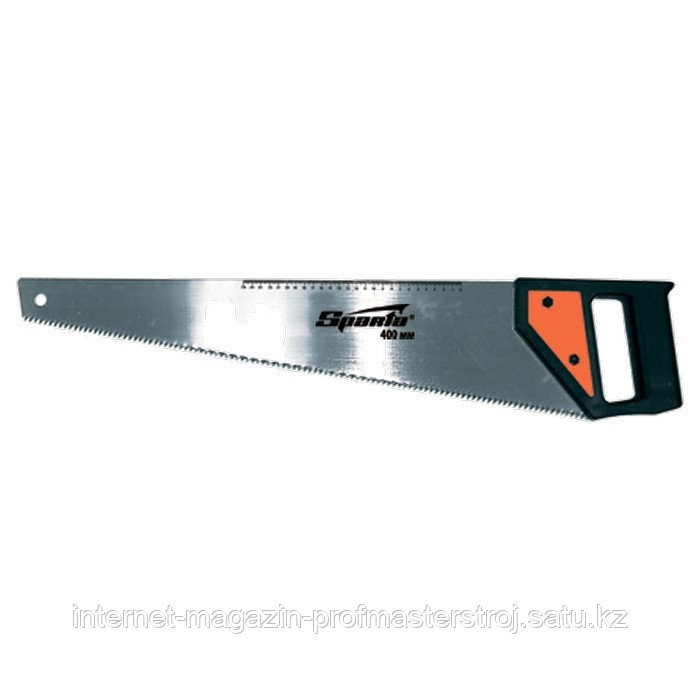 Ножовка по дереву, 450 мм, 5-6 TPI, каленый зуб, линейка, пластиковая рукоятка, SPARTA