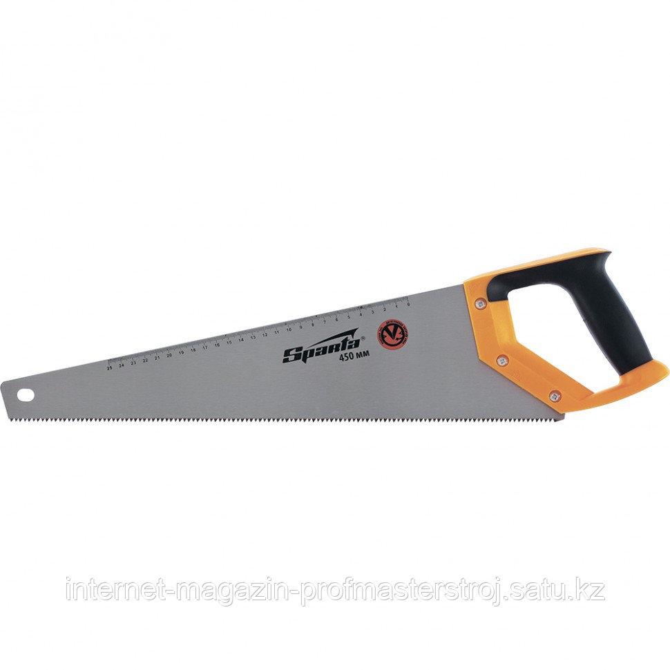 Ножовка по дереву, 450 мм, 7-8 TPI, зуб 2D, каленый зуб, линейка, двухкомпонентная рукоятка, SPARTA