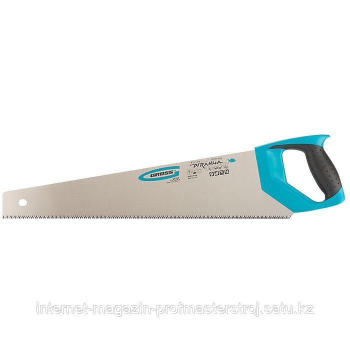 Ножовка по дереву PIRANHA, 500 мм, 7-8 TPI, зуб 3D, каленый зуб, 2-х компонентная рукоятка, GROSS