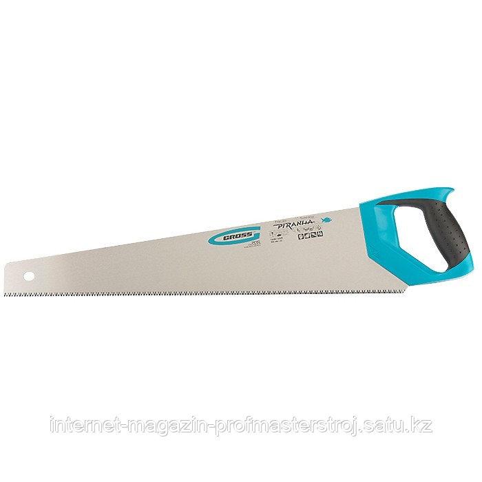 Ножовка по дереву PIRANHA, 550 мм, 7-8 TPI, зуб 3D, каленый зуб, 2-х компонентная рукоятка, GROSS