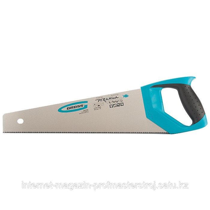 Ножовка по дереву PIRANHA, 400 мм, 11-12 TPI, зуб 3D, каленый зуб, 2-х компонентная рукоятка, GROSS