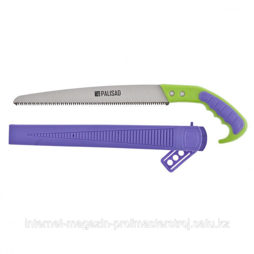 Ножовка садовая, 300 мм, 2-х компонентная рукоятка + ножны, подвес для поясного ремня, PALISAD