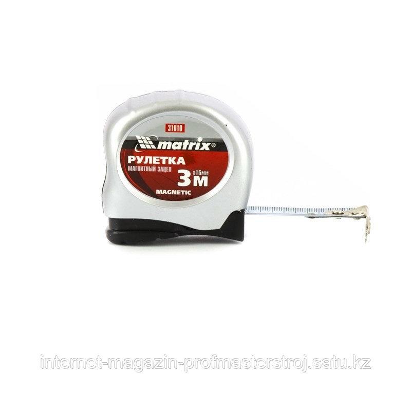 Рулетка Magnetic, 3 м x 16 мм, магнитный зацеп, MATRIX