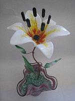 Декоративный цветок из стекла «Лилия белая», фото 1