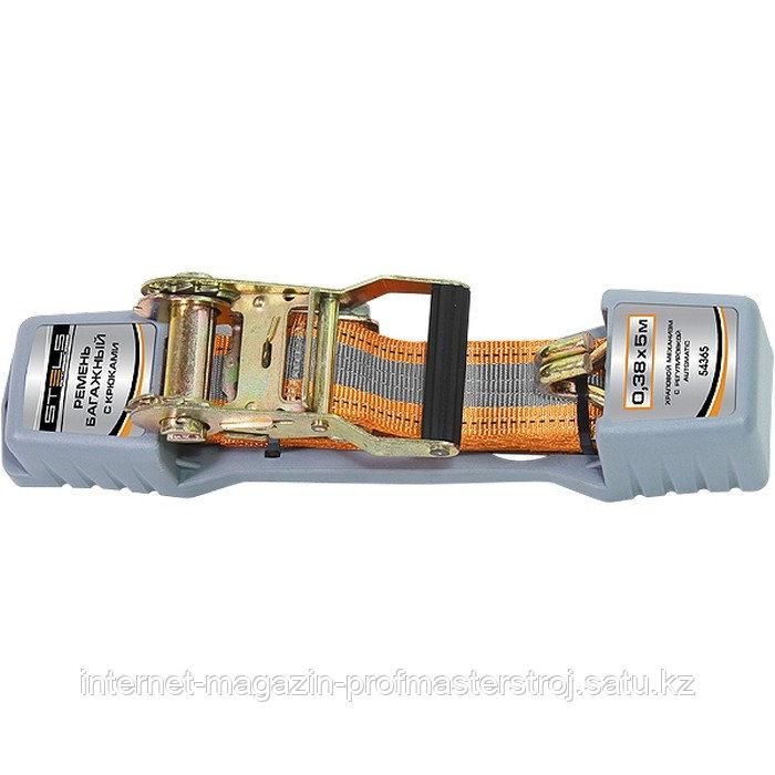 Ремень багажный с крюками, 0.038x5 м, храповый механизм, Automatic, STELS