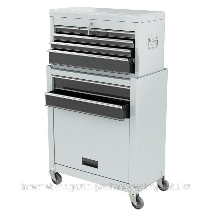 Шкаф для инструмента 2-секционные, 600x260x340 мм, 616x330x658 мм, на колесах, 14 ящиков, MATRIX
