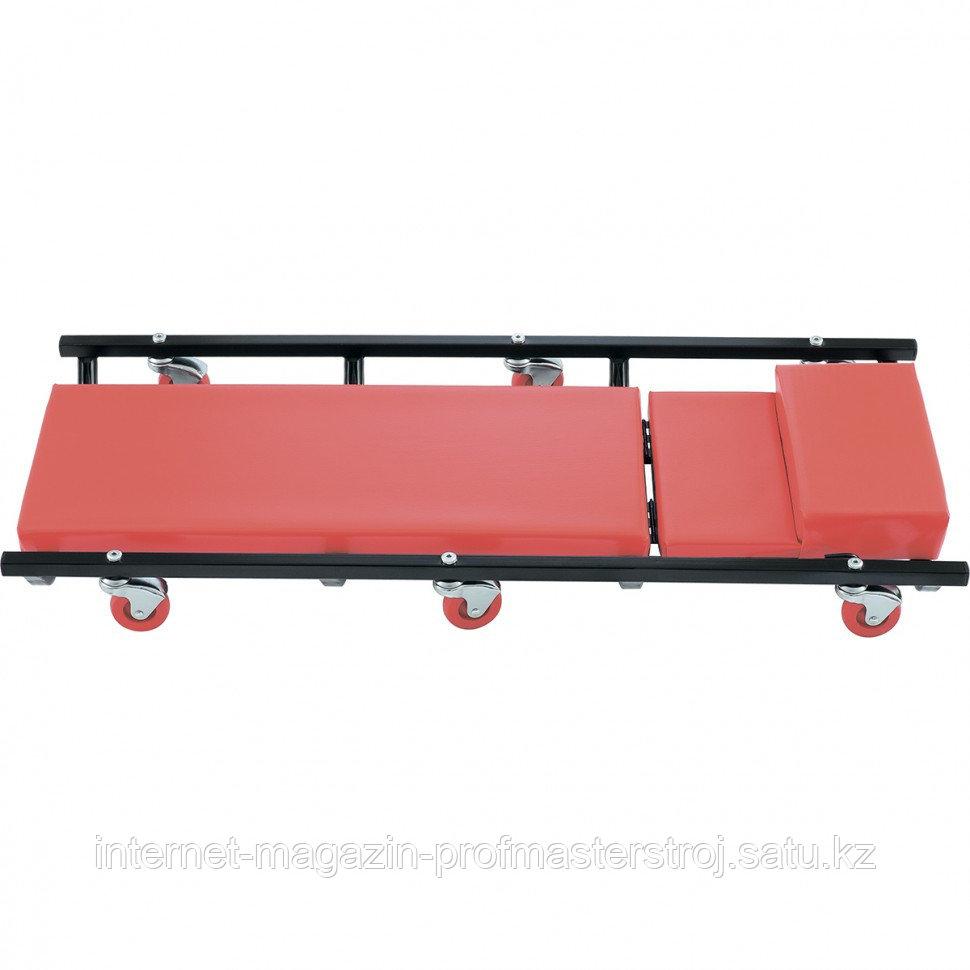 Лежак ремонтный на 6-ти колесах, 1030x440x120 мм, поднимающийся подголовник, MATRIX