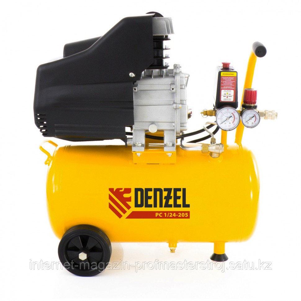 Компрессор пневматический, 1.5 кВт, 206 л/мин, 24 л, DENZEL
