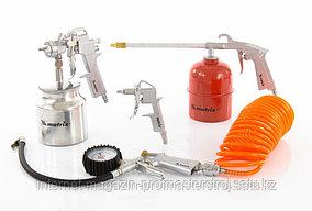 Набор пневмоинструмента, 5 предметов, быстросъемное соед., краскорасп. с нижним бачком, MATRIX