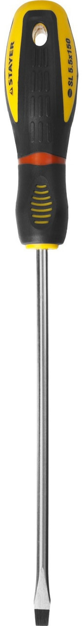 "Отвертка STAYER ""PROFI"" ""PROTech"", двухкомп рукоятка, намагниченная, Cr-Mo, SL5,5x150мм"