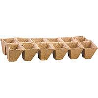 Торфяные горшочки 50 x 50 мм, квадратные (блок по 12 ячеек), РОССИЯ