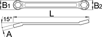 Ключ накидной плоский с профилем TORX и отогнутыми головками 182/2BTX, фото 2