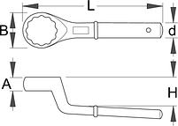 Ключ накидной с изгибом односторонний 178/2, фото 2