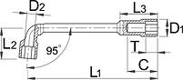 Ключ торцевой двойной изогнутый 177, фото 2