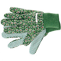 Перчатки садовые х/б ткань с ПВХ точкой, манжет, L, PALISAD