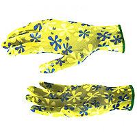 Перчатки садовые из полиэстера с нитриловым обливом, зеленые, M, PALISAD