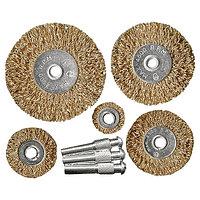 Набор щеток для дрели, 5 шт., 5 плоских, 25-38-50-63-75 мм, со шпильками, металлические, MATRIX