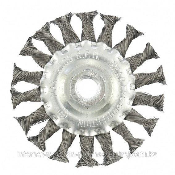 Щетка для УШМ, 100 мм, М14, плоская, крученая проволока 0.35 мм, MATRIX