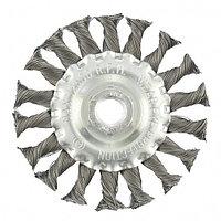 Щетка для УШМ, 100 мм, М14, плоская, крученая проволока 0.35 мм, MATRIX, фото 1