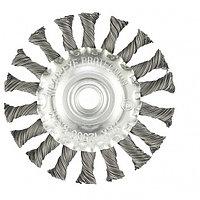 Щетка для УШМ, 100 мм, М14, плоская, крученая проволока 0.5 мм, MATRIX, фото 1