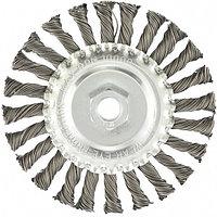Щетка для УШМ, 125 мм, М14, плоская, крученая проволока 0.8 мм, MATRIX, фото 1