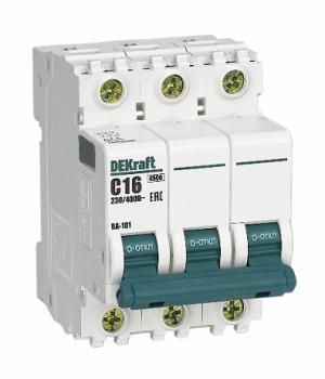 Автоматический выключатель ВА 101 3P 10А 4,5кА С DEKraft 3 полюсный