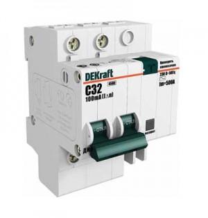 Автоматическое устройство защитного отключения АВДТ (АД12) 2P 20А 30мА DEKraft