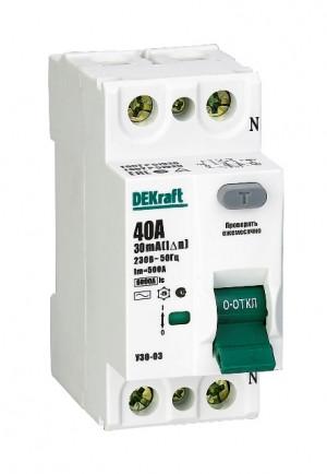 Автоматическое устройство защитного отключения АВДТ (ВД) 2P 40А 30мА 6кА DEKraft