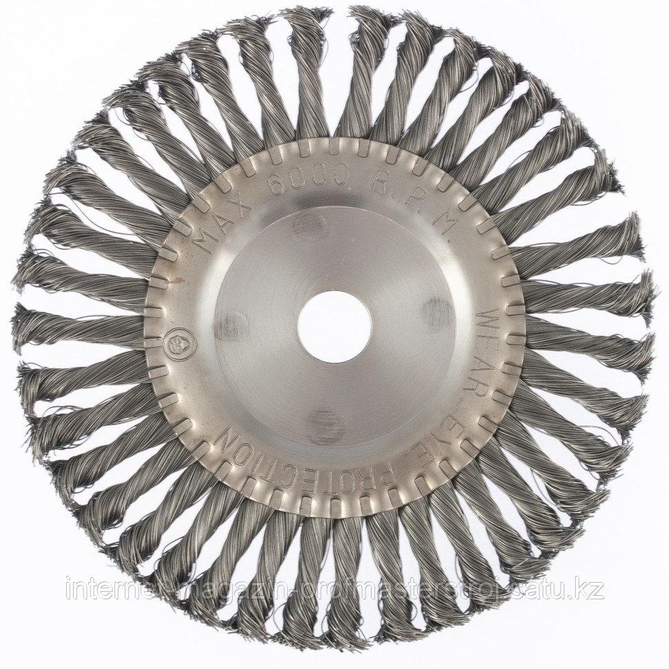 Щетка для УШМ 200 мм, посадка 22.2 мм, плоская, крученая проволока 0.5 мм, MATRIX