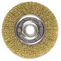 Щетка для УШМ 100 мм, посадка 22.2 мм, плоская, латунированная витая проволока, MATRIX