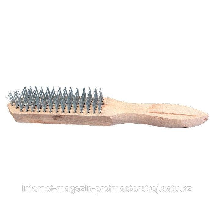 Щетка 3-рядная металлическая с деревянной ручкой, SPARTA
